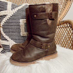 UGG chocolate brown leather booties
